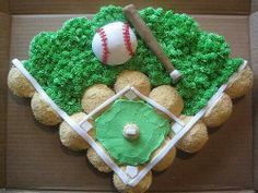 Cupcake ball field. This would be so cute to make for my littlest nephews birthday!