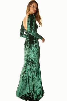 5f406bd8b821 Womens Flare Bottom Floor Length Long Sleeve Velvet Hunter