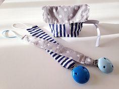 Set regalo neonato/nascita clip e pochette portaciuccio