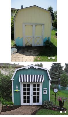 Shed Makeover - White doors with painted squares to give illusion of French doors.