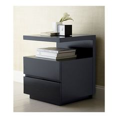 Pavillion Black Nightstand I Crate and Barrel Bedroom Bed Design, Bedroom Furniture Design, Bed Furniture, Bedroom Decor, Bedside Table Decor, Bedside Table Design, Modern Bedside Table, Bedside Tables, Black Nightstand
