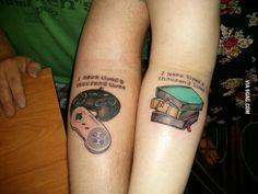 "Nerdy couple's tattoos ""I have lived a thousand lives"" his with game controllers and hers with books...I love this idea!!"