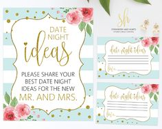 'Date night ideas' cards are a great way to add a little fun to your wedding! You'll love reading them after you return from the honeymoon! #printable #wedding #reception #weddinggames #receptiongames #weddingstationery #SHdesigns