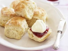 Gluten-free scones recipe - By Australian Women& Weekly, When it comes to gluten-free baking, sometimes gluten-free flour is not enough on its own. This gluten-free scones recipe lets you get the right texture and taste without adding gluten. Gluten Free Scones, Gluten Free Flour, Gluten Free Cooking, Gluten Free Desserts, Dairy Free Recipes, Gluten Free Party Food, Gluten Free Pastry, Gluten Free Biscuits, 12 Grapes