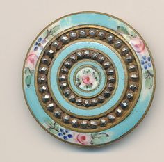 Antique enamel button turquoise enamel, cut steel, painted flowers