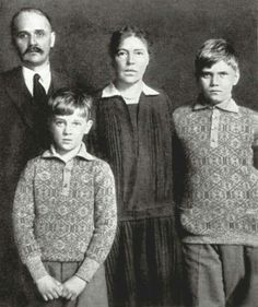 "Grand Duchess Olga Alexandrovna Romanova of Russia with her 2nd husband and two children Guri and Tikhon. ""AL"""