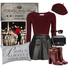 How To Wear Burgandy and Leather Magnifique!!! Outfit Idea 2017 - Fashion Trends Ready To Wear For Plus Size, Curvy Women Over 20, 30, 40, 50