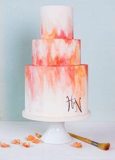 painted wedding cake w/ coral/orange