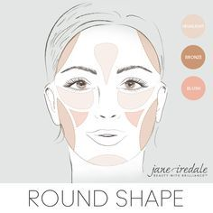 A makeup guide on how to apply highlighter, bronzer, and blush to a round-shaped face.
