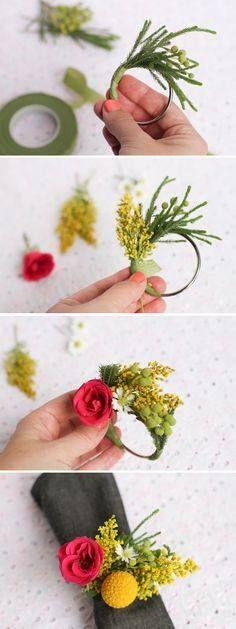 Pretty floral napkin ring