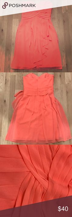 David's Bridal Bridesmaid Dress Peach Bridesmaids Dress. Only worn once! In great condition. The dress has a little alterations and does not come with straps (pictured in middle). The price is negotiable 😊 David's Bridal Dresses Midi