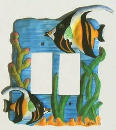 Moorish Idol - Tropical Fish Rocker Switchplate - Unique Fish Design . $17.95. Unique hand painted metal tropical fish rocker - decora switchplate cover. All of the hand painted metaltropical fish switch plates are hand cut from recycled steel 55 gallon drums with hammer and chisel. Certain parts of the design are pounded to round out the body of the piece. The hand painting is very detailed. A high quality piece that you will appreciate as an unusual addition to your...