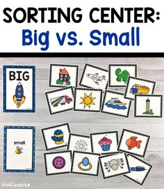 """Small Sorting Activity This hands-on sorting activity is a fun way to help your children practice differentiating between big and small things. These cute and colorful big vs. small sorting cards can be used as a whole class """"circle time"""" activity Circle Time Activities, Toddler Learning Activities, Sorting Activities, Kindergarten Activities, Kids Learning, Preschool Lesson Plans, Preschool Science, Opposites Preschool, Teaching The Alphabet"""