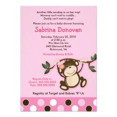 Monkey Play Girl Baby Shower Invitation