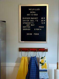 Vintage menu board with pastry blender towel holders!