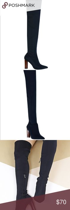 Black Knee High Boots The LIQUOR black thigh high heeled boots are made from high quality stretch scuba and features a wooden look heel. Team 'em up with an LBD and a cute clutch! As seen on Selena Gomez, exact match! ○ Stretch scuba ○ Heel height: 4 inches ○ Thigh high heeled boot ○ Wooden look heel Note: I'm a size 6 and ordered this from Europe. I believe they would fit a size 6.5-7 women's. They are gorgeous in person, look fierceless, and just have a lot of great attitude! Seemed…