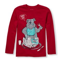 s Boys Long Sleeve 'Dinner Time' Homework Dog Graphic Tee - Red T-Shirt - The Children's Place