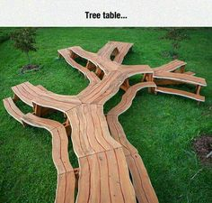Tree table. Finally a table big enough to fit the entire family. Awesome for yard parties.