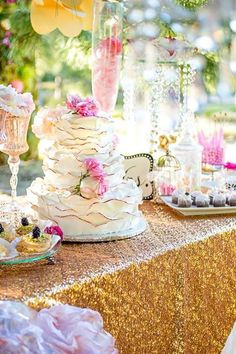 Fairytale wedding decor cake and details by exotica designs & amazing cake creations. Photography: ViennaRose photography. Orange County wedding photography. Colors: blush pink , cream, gold
