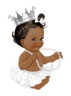 Baby Girl Princess, Baby Shower Princess, Black Love Art, Black Girl Art, Cinderella Baby Shower, Baby Afro, African Drawings, Little Girl Illustrations, African American Babies