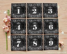 Dress Up Your Reception With These Free Wedding Table Numbers: Chalkboard Wedding Table Numbers from Botanical Paperworks