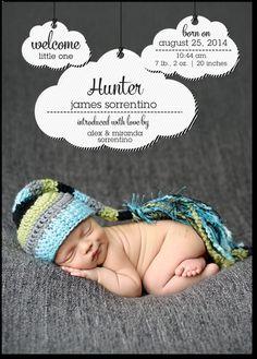 Cloudy Cutie: Boy: Fog Boy Photo Birth Announcements