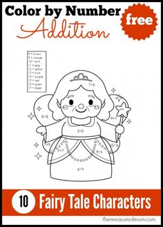 10 FREE Color by Number Addition Pages!  Cute!