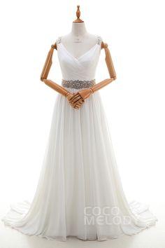 Elegant Sheath-Column V-Neck Natural Sweep-Brush Train Chiffon Ivory Sleeveless Key Hole Wedding Dress with Beading Pleating #LD4316 #cocomelody #weddingdress