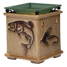 A warmer worthy of a great outdoorsman — Dad! Trout and hand-tied flies are etched onto a natural sandstone background, capped with a river-green glass warmer dish. www.divinelyscent.scentsy.us