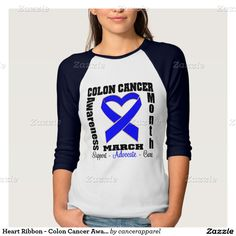Heart Ribbon - Colon Cancer Awareness Month T-shirt