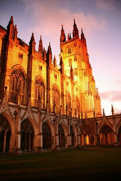 Canterbury Cathedral Cloisters at Evening, Kent, England