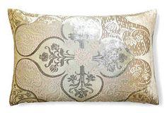 One Kings Lane - Trend Report from NY Now - Persian 12x18 Velvet Pillow, Cream