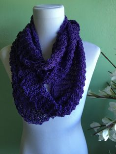 Hand Knit Infinity Scarf Merino Wool Blend Light and Lacy Summer Scarf by starlightknits on Etsy