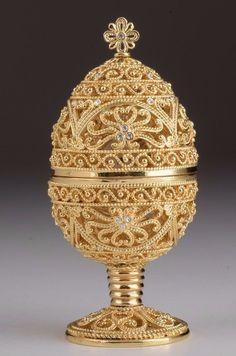 Faberge Egg Trinket Box & Clock Handmade by Keren Kopal Austrian Crystals