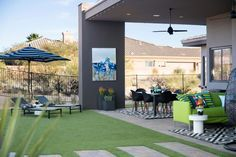 With a sparkling pool and inviting covered patio with misters for relaxing and entertaining, the well-designed backyard at HGTV Smart Home 2017 provides a comfortable and stylish way to enjoy the warm climate of this desert modern home. >> http://www.hgtv.com/design/hgtv-smart-home/2017/backyard-pictures-from-hgtv-smart-home-2017-pictures?soc=pinterest