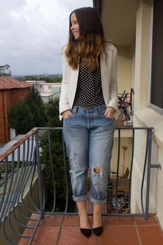 Rachel from The Autumn Castle wearing our Basic Polka Dot blouse.