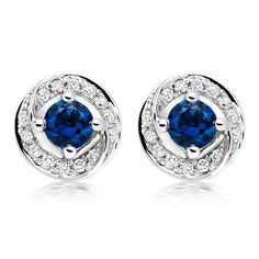9ct White Gold Diamond Sapphire Stud Earrings