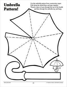 Umbrella Pattern by Scholastic Art For Kids, Crafts For Kids, Arts And Crafts, Preschool Worksheets, Preschool Crafts, Umbrella Template, Umbrella Decorations, Pattern Worksheet, October Crafts