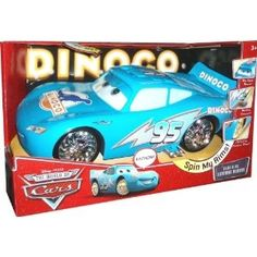 Lightning McQueen wants nothing more than to be the new face of Dinoco. He dreams of fame, and the celebrity spotlight - all blinged out in Dinoco blue! Bling Bling McQueen with Dinoco blue paint job, electronic lights and sounds, moving exhaust, moving eyes and custom spinners.