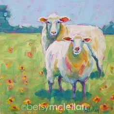 Sheep Original Painting betsymclellanstudio on Etsy
