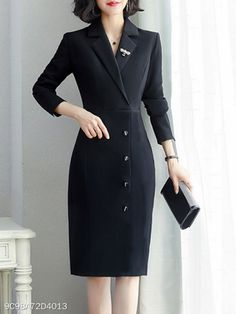 Fold-Over Collar Single Breasted Plain Bodycon Dress : Polka Dot Bodycon Dresses, Bodycon Dress With Sleeves, Dress Silhouette, Skirts With Pockets, Looks Style, Mode Style, Trendy Outfits, Fashion Dresses, Maxi Dresses