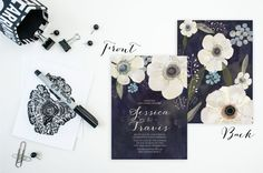 Wedding Invitation & RSVP set Anemone Flowers by FeatheredHeartPrints Elegant Watercolor Wedding Invitation Set- Hand painted Flowers- Anemone White Flowers with Navy Blue Watercolor Background. Modern Calligraphy Wedding Invitation.