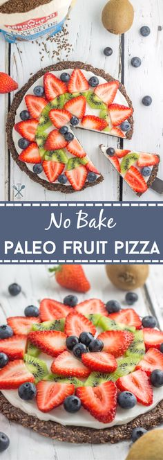 This paleo, no bake fruit pizza is the perfect summer dessert that's healthy too! Naturally sweetened with a nut free crust using @arrowheadmills flaxseed from @kroger. #ad #OrganicsEveryDay