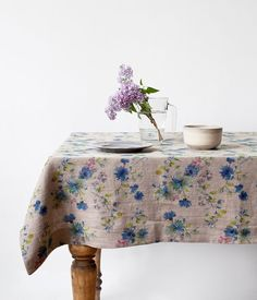 Natural Summer Flowers Linen Tablecloth от LinenTales на Etsy