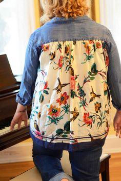 DIY Vintage Scarf Back Button Up Shirt