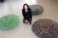 """GJERTRUD HALS """"Urd"""" 2008 Branches,twigs, thread, beard lichen, epoxy. Diam 150, d 40 cm."""