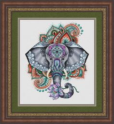 Elephant Cross Stitch Pattern PDF Instant Download Mandala Cross Stitch Geometric Embroidery Cute Wall Decor Finished Photo Available Mandala Elephant counted cross stitch pattern. Designed by Nadezhda Kazarina. This pattern is an instant download PDF file. Design size is 127w x 158h