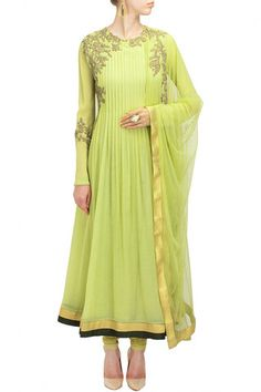 Light green color anarkali suit – Panache Haute Couture