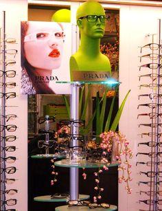 Green and floral #eyewear display #merchandising