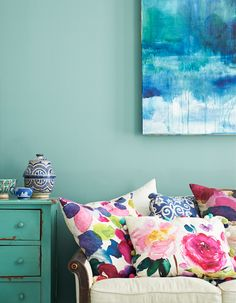 Ooh, pretty watercolor print pillows! Beautiful ideas to bring florals and colour into your home in Bright.Bazaar's new interior design book.